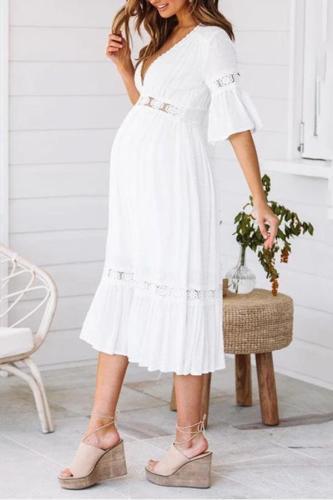 Maternity V-Neck Lace-Paneled Sleeveless Dress