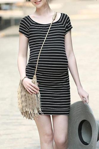 Maternity Stripe Short Dress