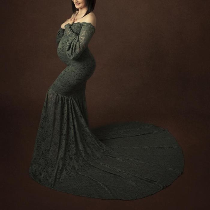 Maternity Sexy Boat Neck Lace Pure Color Dress