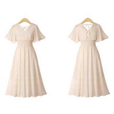 Maternity Summer V Collar Solid Color Midi Dress