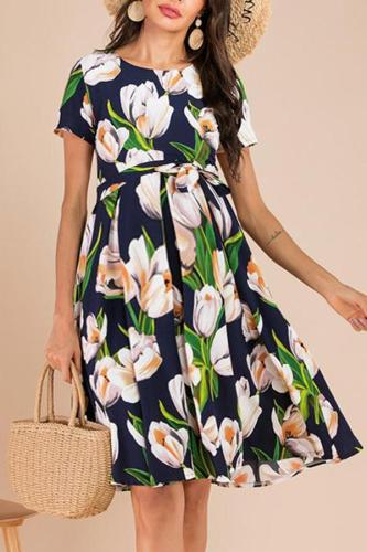 Maternity Round Neck And Short Sleeve Print Dress