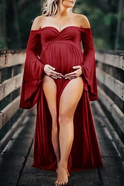 Maternity Sexy Solid Color Off Shoulder Tuff Sleeve High Split Dress