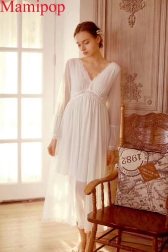 White Night Dress Maternity Sleepwear Cotton Maternity Dress