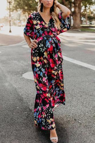 Maternity Fashion V-Neck Print Large Swing Dress