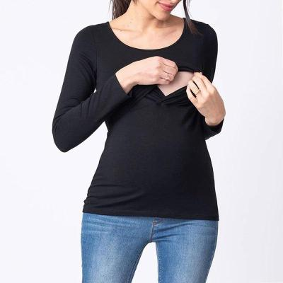 Long-Sleeved Solid-Colored T-shirt for Nursing Pregnant Women