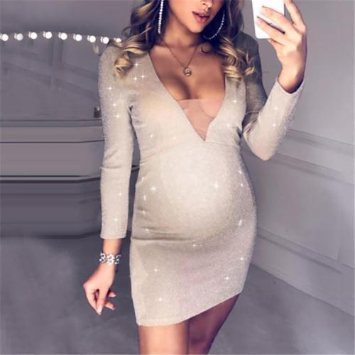 Maternity Casual Long Sleeve V NeCK Dress
