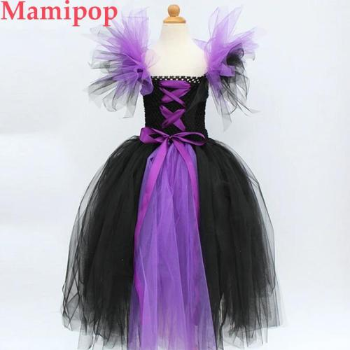 Evil Queen Girls Tutu Dress with Horns Halloween Cosplay Witch Costume