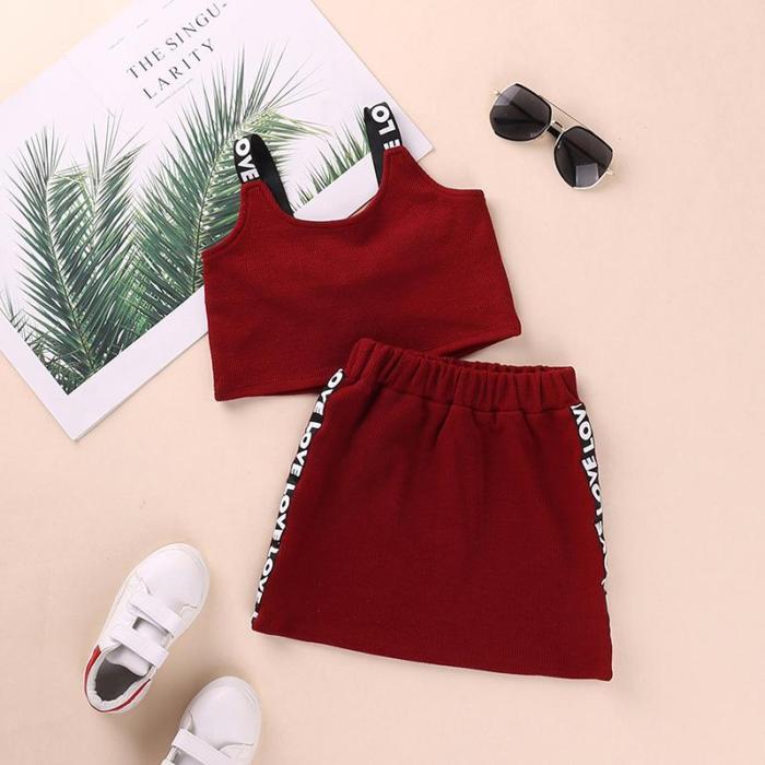 2020 girls' summer suit skirt children's sports letter vest two piece set