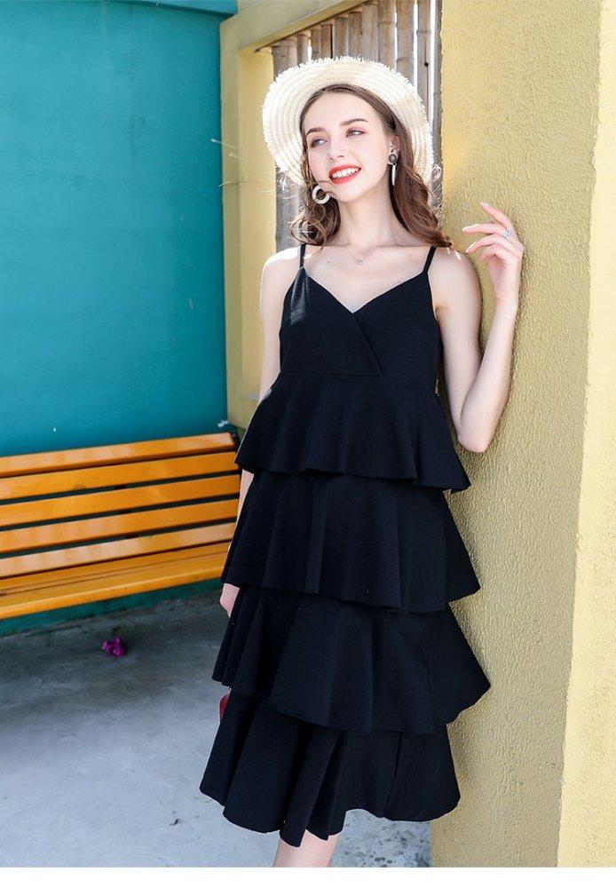 Summer High Street Fashion Sexy V Neck Sleeveless Ball Gown Midi Calf Dress