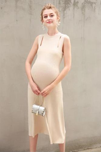 Maternity elegant summer sleeveless long Slim thin pregnant women dress