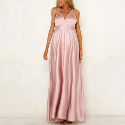 Maternity V-Neck Evening Dress