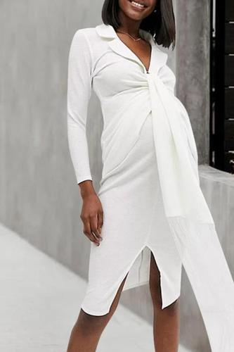 Maternity Casual Solid Color Lapel Tie Tie Strap Fringe Long Sleeve Dress