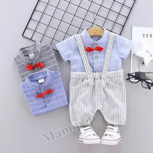 New Plaid Shirt stripe strap Pants Set Korean boys short sleeve shorts two piece Suit