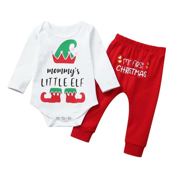 Baby Girl Boy Christmas Letter Long Sleeve O-neck Romper Deer Pants