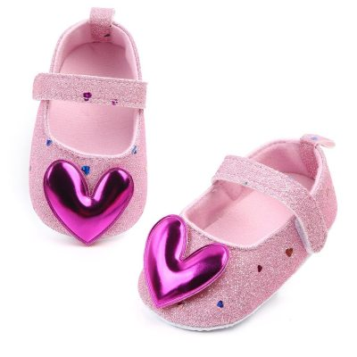 Fashion New 2020 Baby Shoes Infant Girls Indoor Soft-Soled Purple Heart-Shaped Princess Shoes