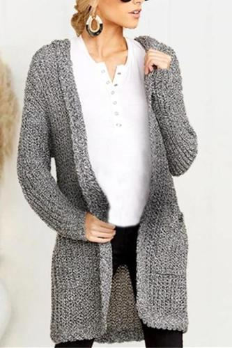 Maternity Knit Pocket Medium Length Hooded Cardigan