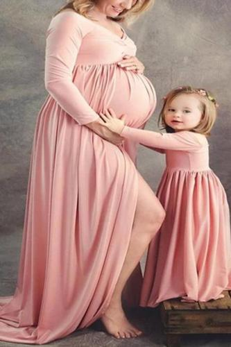 Maternity Plain Off Shoulder Long Sleeve Formal Dress