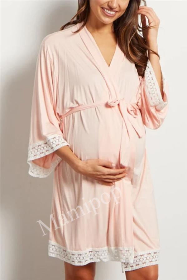 Maternity Sleepwear Solid Color Lace  Pregnant Women Large Size  Nursing Nightgown Comfortable Pajamas