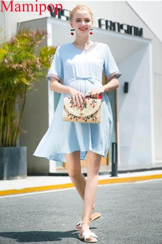 Summer Pregnant dress long short sleeve V-neck blouse