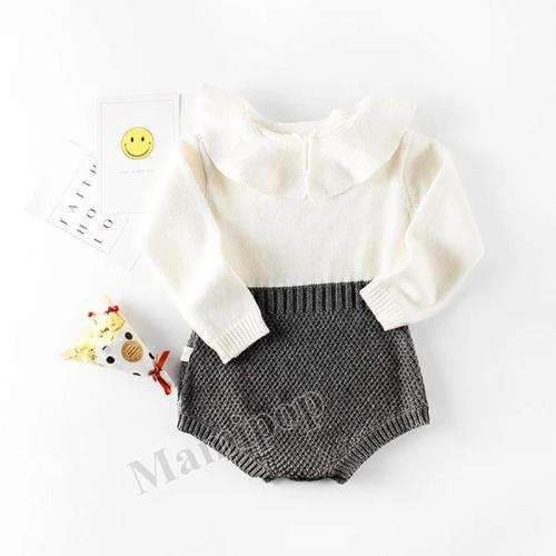 Spring and Autumn Girl  Baby Collar Knitting Wool One Piece Clothes Bag Fart Kazakhstan Clothes