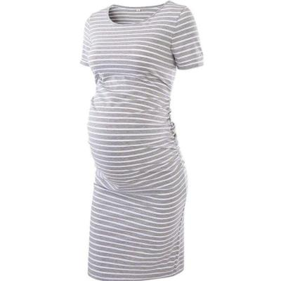 Pregnancy Dress Side Ruched Maternity Clothes Bodycon Dress Striped Casual Short Sleeve Wrap Dresses