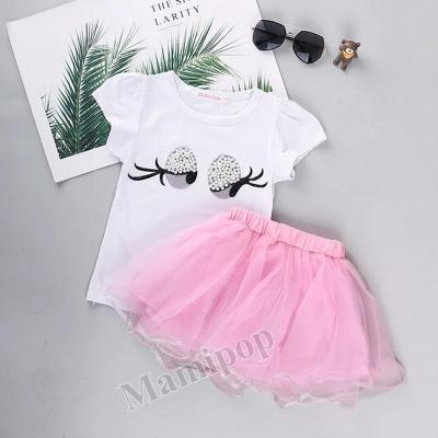 Summer 2020 New Girls Short Sleeve Cartoon Printed T-shirt  two-Piece Set