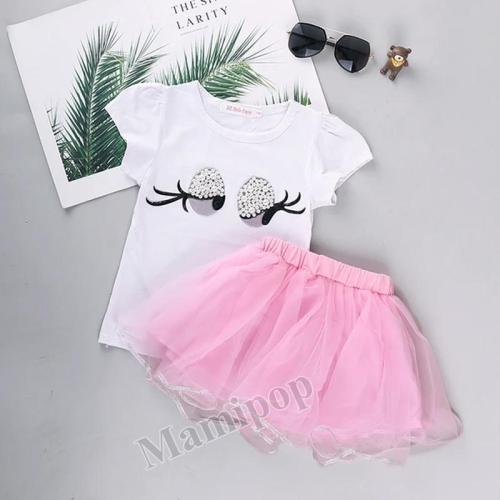 Summer 2020 New Girls Short Sleeve Cartoon Printed T-shirt  two-Piece Set