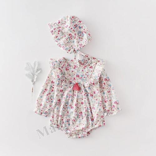 New Baby Girl's Small Floral Long Sleeve Hardcover  One Piece Creeper