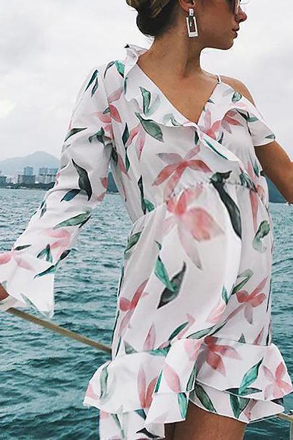 Casual Maternity Beach Ruffled Irregular Print Dress