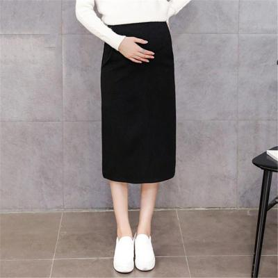 Maternity Casual Pure Color Slit Skirt