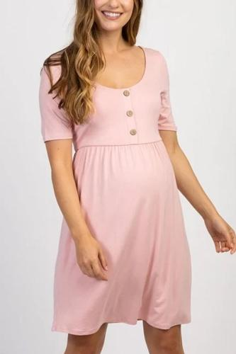 Maternity Sweet Round Neck Button Pure Colour Dress