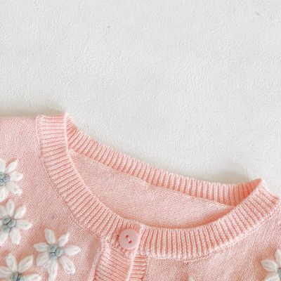 Early Autumn New Girl Baby Long Sleeve Sweet Solid Color Hand knitted Embroidery Coat