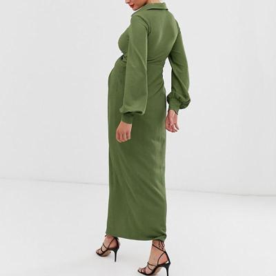 Maternity Sweet V Neck Pure Colour Slit Maxi Dress