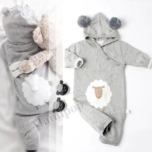 Children's Clothing Baby Sweater Knitting Baby Newborn Cartoon Hooded Jumpsuit