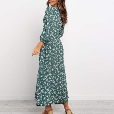 Maternity Casual Printed V-neck Long-sleeved High Waist Chiffon Dress
