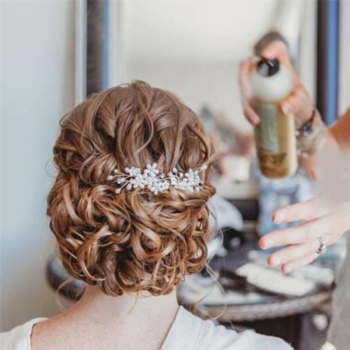 Pearl-studded flower U-shaped accessory hair headwear