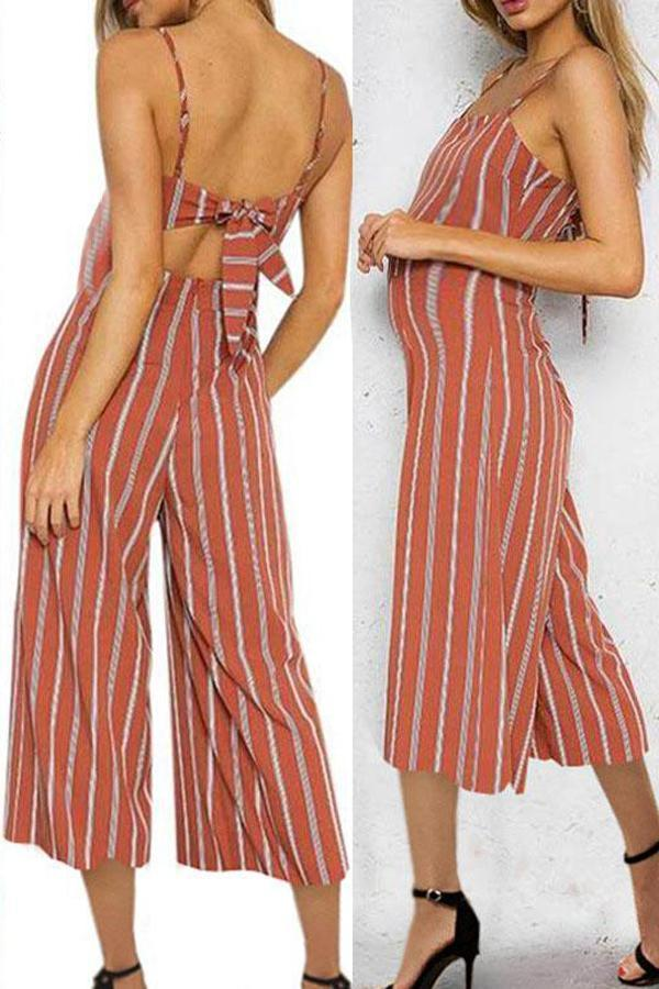 Maternity Printed Sling Bow Tie Jumpsuit