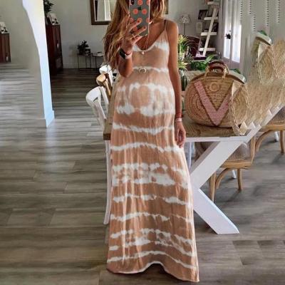 Maternity V-Neck Tie Dye Print Long Dress