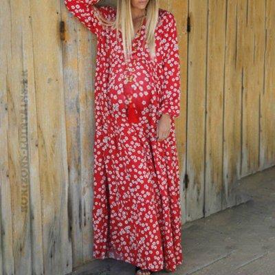 Deep V Long Sleeved Printed Loose Dress
