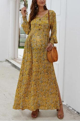 Long sleeved V-neck floral maternity dress