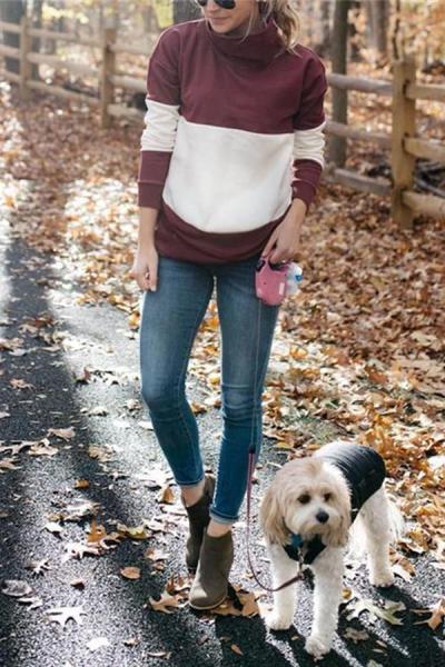 Maternity Color Block Long Sleeve Sweater