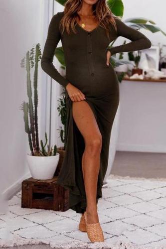 Maternity Fashion Deep V Split Long Sleeve Dress