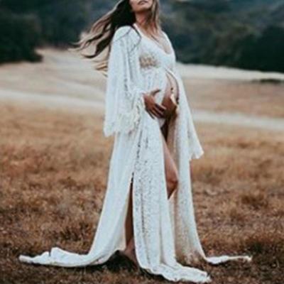 Maternity Sexy High Slit Long Sleeve Dress