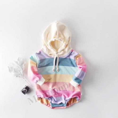 New Fall 2020 Rainbow Long Sleeve Hooded Bodysuit for Boys and Girls