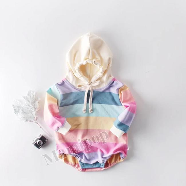 New Fall 2020 Rainbow Long Sleeve Hooded Bodysuit for Boys and Girls