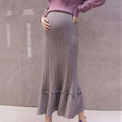Maternity solid color ruffled stitching knit skirt