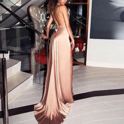 Maternity Sexy Pure Color High Slit Sling Dress