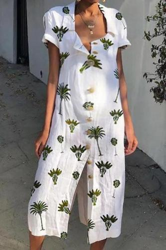 Casual Maternity Beach Floral Print Long Dress