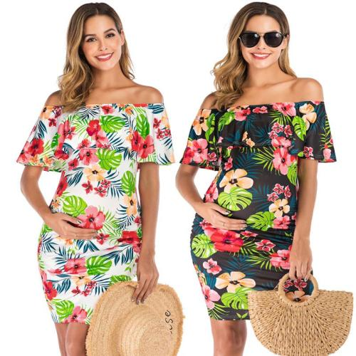 One neck loose tie short sleeve printed maternity top