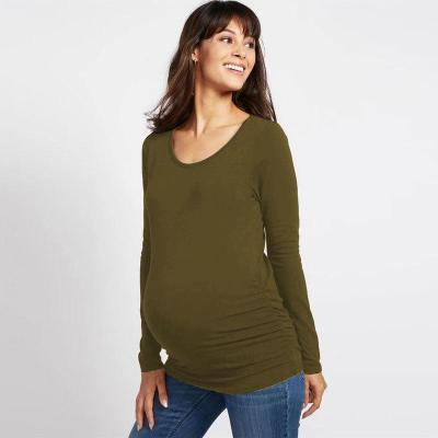 Maternity long sleeve round neck solid color T-shirt